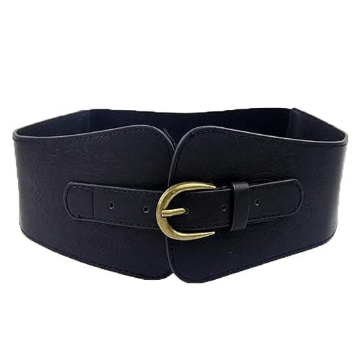 00115b214e SUPER WIDE Women Ladies Vintage Faux Leather Totem Print Elastic Stretch  Corset Cinch Belt (Black