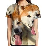 Women Happy Akita Selfie Crewneck Tshirts Short Sleeve Fashion Patterned Tshirt