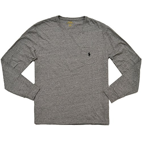 Polo Ralph Lauren Mens Long Sleeve Pocket T-Shirt (Large, Dark Vintage Gray - Black Pony)