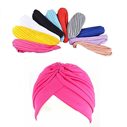Ever Fairy 10 Pack Stretch Polyester Turban Head Cover Twisted Pleated Headwrap (2# 10 Colors)