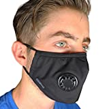 Full Seal Pollution Mask for Men & Women ~ Reusable Cotton Air Filter Mask With Adjustable Ear Loops Perfect for Blocking Pollution Dust Pollen and Germs (Includes 2 Carbon Filters N99) (Black)