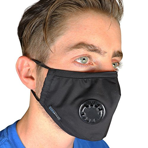 Full Seal Pollution Mask for Men & Women ~ Reusable Cotton Air Filter Mask With Adjustable Ear Loops Perfect for Blocking Pollution Dust Pollen and Germs (Includes 2 Carbon Filters N99) (Black) by Live Right Project