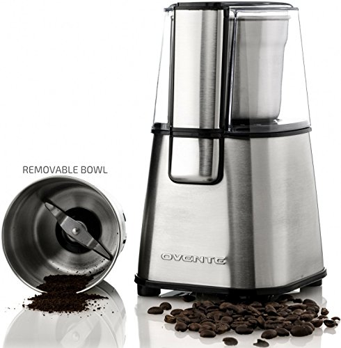 Ovente CG620S Multi-Purpose Stainless Steel Electric Grinder for Coffee Beans and Most Spices, Seeds, Nuts, Grains, Etc. with Removable Grinding Bowl