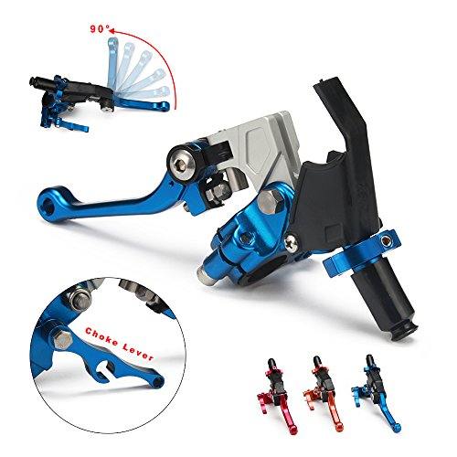 JFG RACING Blue Adjustable Folding Extendable Clutch Perch Foldable Lever Assembly for Suzuki Yamaha Honda Kawasaki Cable Clucth WR250F TTR125 RMZ250 RM65 KLX450R CRF150F CR80 (Clutch Cable Assembly)