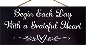 JennyGems Begin Each Day with A Grateful Heart | Inspirational Signs | Decorative Home | Farmhouse Decor | Genuine Wood Sign | Made in USA