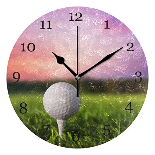 Tee Time Golf Clock - KUWT Sport Golf Ball On Tee Wall Clock Silent Non-Ticking 9.5 Inch Round Clock Acrylic Art Painting Home Office School Decor