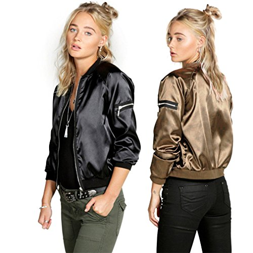 Iumer Women Beige Zip Up Satin Vintage Baseball Bomber Jacket with Pocket by IumerIU