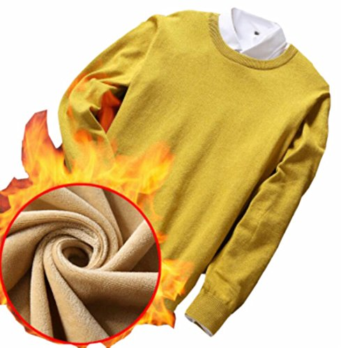 Winter Thicken Sweater Knitted Long Mens Yellow today Sleeve UK Crewneck Pullover PEqwnpZB