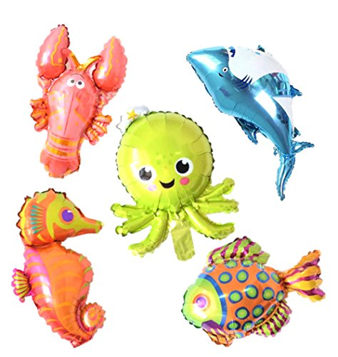 5 Pack Marine Sea Animals Foil Balloons Shark Octopus Sea Horse Tropical Fish Lobster Mylar Balloons for Kids Birthday Party Favors Carnival Festival Decoration -