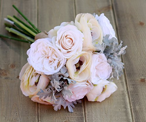 Silk Ivory and Cream Ranunculus and Roses - Winter Wedding Bouquet