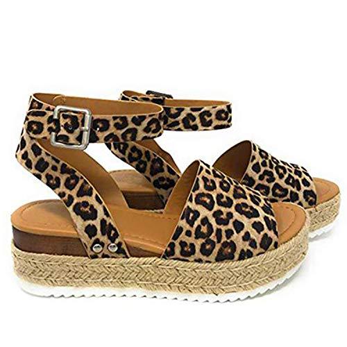 (Women Sandals Casual Espadrilles Sandals Open Toe Platform Strappy Studded Wedge Buckle Ankle Strap Mid Heel Sandals (US Size 6.5-9.25 in(Heel to Toe), D Leopard Women Sandals))