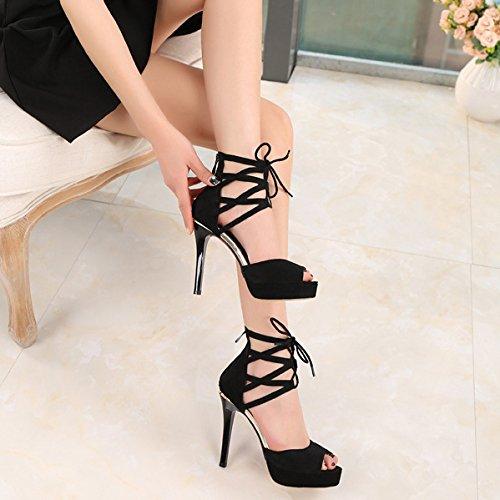 ante de fiesta negro para correas Peep mujer vestir Toe para tacón gamuza noche tobillo de negra zapatos Sandalias de alto 0CpCq