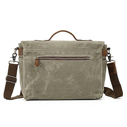 Bag Computer Oil Waterproof Wax Khaki Shoulder Outdoor Casual Men's Canvas Messenger Tote Camera 5pTqTPw