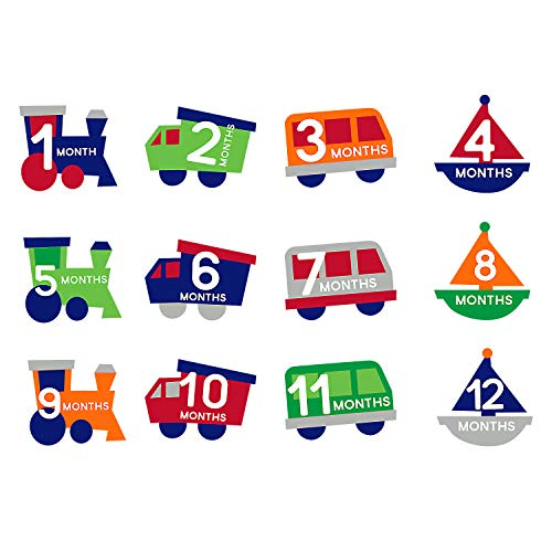 - Pearhead Milestone Baby Belly Stickers, Photo Props Set, A Unique Baby Shower Gift, Includes Trains, Trucks, Vans, and Boats, Months 1-12