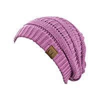 C.C Trendy Warm Chunky Soft Stretch Cable Knit Beanie Skully, New Lavender