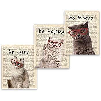 Funny Kitten Portraits Prints Baby Cat with Glasses Minimalist Nursery Wall Art Decor Siamese Tabby Shorthair Longhair Maine Coon Persian Scottish Fold Black - Set of 3 8x10 inch no Frame