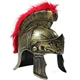 OliaDesign 405 Roman Helmet with Red Feathers Gladiator, Gold, One Size