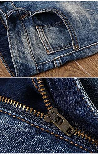 Strappati Media Alta Vintage Slim Blu Ricamo Uomo Vita Elasticizzati Fit Con A Pantaloni Jeans Da Env6pW7qn