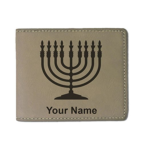 Personalized Menorah - Faux Leather Wallet, Menorah, Personalized Engraving Included (Light Brown)