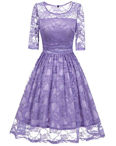 Damen Kleider 50S MILEEO Vintage Spitze Damen Kleid Knielang Kurzarm ...