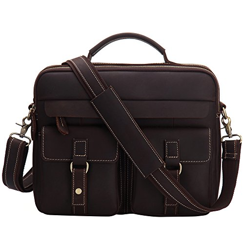 Vintage Real Leather Shoulder Handbags For Men, Berchirly Crossbody Menssenger Bag Red Brown