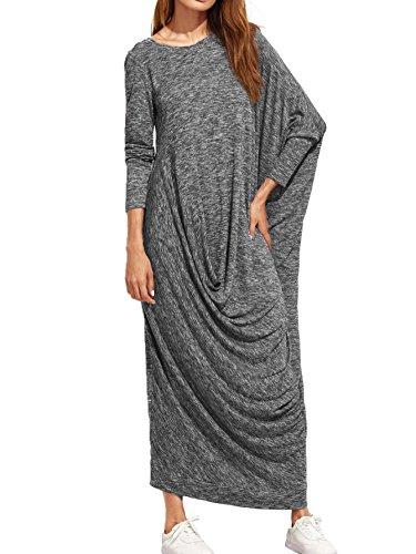 Verdusa Women's Long Sleeve Knit Asymmetric Oversized Casual Shift Long Maxi Dress Grey - Dress Long Shift