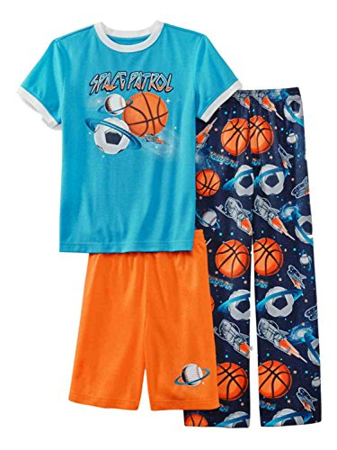 Joe Boxer Boys 3 Piece Space Patrol T-Shirt Pants Shorts Sleepwear Pajama Set S Boys Sleep Boxers