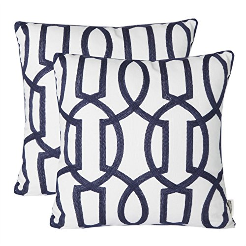 Mika Home Pack of 2 Embroidery Geometric Links Accent Decorative Throw Pillow Cover Sofa Cushion Case for 18X18 Inserts Cotton Fabric Navy White (Decorative Pillows Throw Designer)