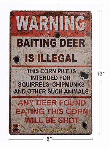 Tin Signs Vintage Coffee Wall Coffee /& Bar Decor,Size 12 X 8 China Erlood-10496 ERLOOD Warning Baiting Deer is Illegal Metal Tin Sign