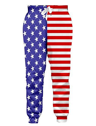 Loveternal Mens Trend Tapered Jogger American Flag Sweatpants High Waisted Drawstring Pockets Tracksuit Comfy Sweat Pants S