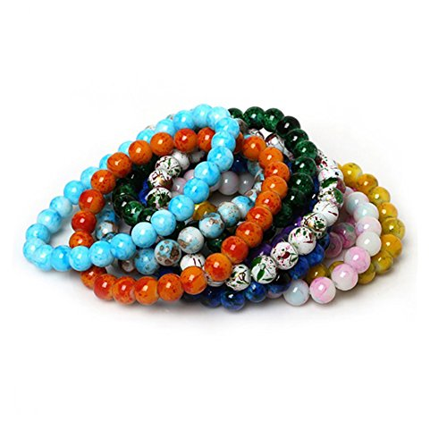 Glass Bead Bracelet (Handmade Natural Stone Stretch/Elastic Glass Beads Charm Bracelets)