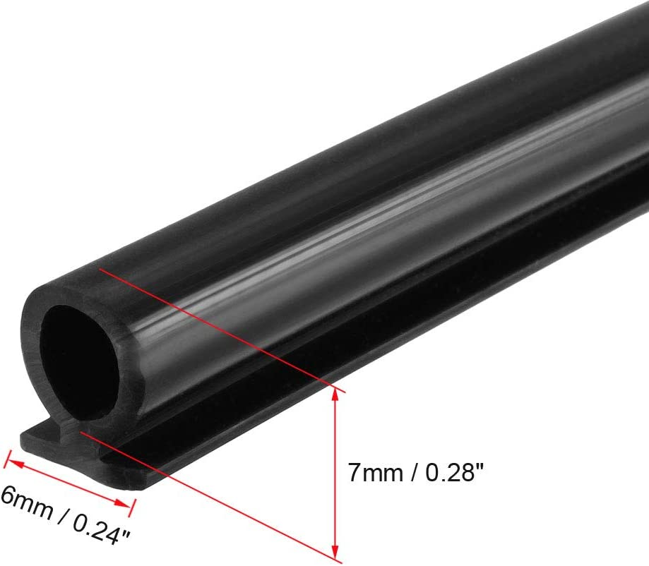 uxcell T-Slot Mount Window Weatherstrip Seal 7mm Bulb Bubble for 6mm Slot 3 Meters Long Black