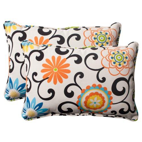 Indoor/Outdoor Pom Pom Play Corded Oversized Rectangular Throw Pillow, Lagoon, Set of (Lagoon Pillow)