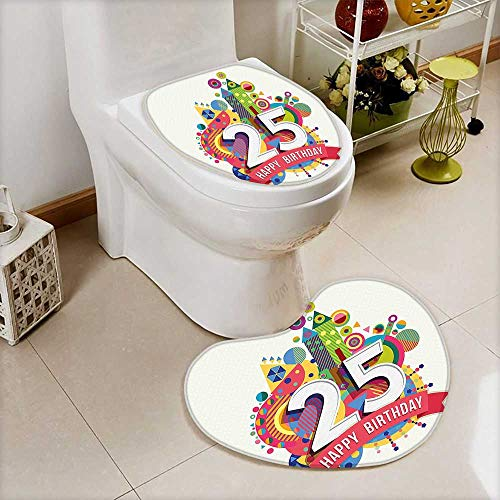 - 2 Piece Toilet Toilet mat Decorations Fun Celebration Greeting Card Inspired Number Text Label Multicolor Absorbent Cover