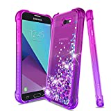 Compatible Samsung Galaxy J3 Emerge,Galaxy J3 Prime Case,J3 2017 Case,Express Prime 2/Amp Prime 2/Sol 2/J3 Luna Pro,Bling Glitter Flowing Liquid Protective Phone Cover for Girls Women,Pink/Purple