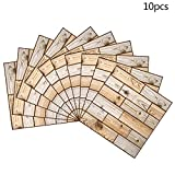 3D Wall Panels Brick Design Wall Sticker, 11.81''x11.81'', 4MM Thickness 3D Texture Touch Feel, Perfect Home Decoration (10 Pcs, Wood grain)
