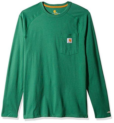 Carhartt Men's Force Cotton Delmont Long Sleeve T-Shirt, Botanical Green, Medium -