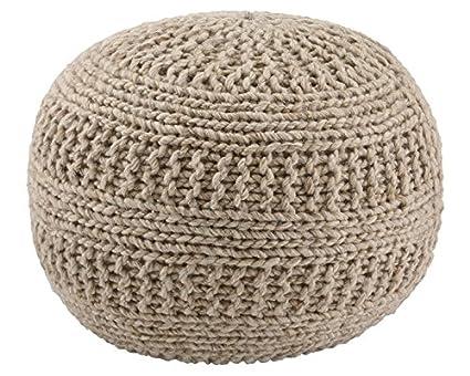 Signature Design By Ashley Benedict Pouf   Comfortable Ottoman U0026 Footrest    Handmade Rib Knit