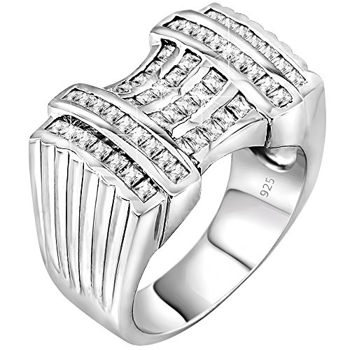 Men's Sterling Silver .925 Ring Featuring 52 Baguette Cubic Zirconia (CZ) Stones, Platinum Plated. By Sterling Manufacturers (Cz Rings That Look Real)