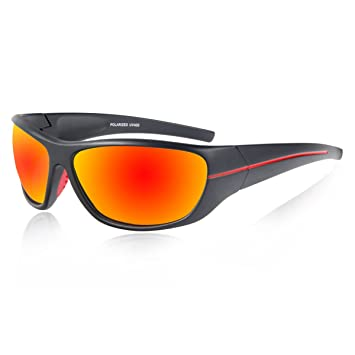 ef966cfe06 Queshark Polarized Sports Sunglasses For Men Women Cycling Running Fishing  QE24 (Black