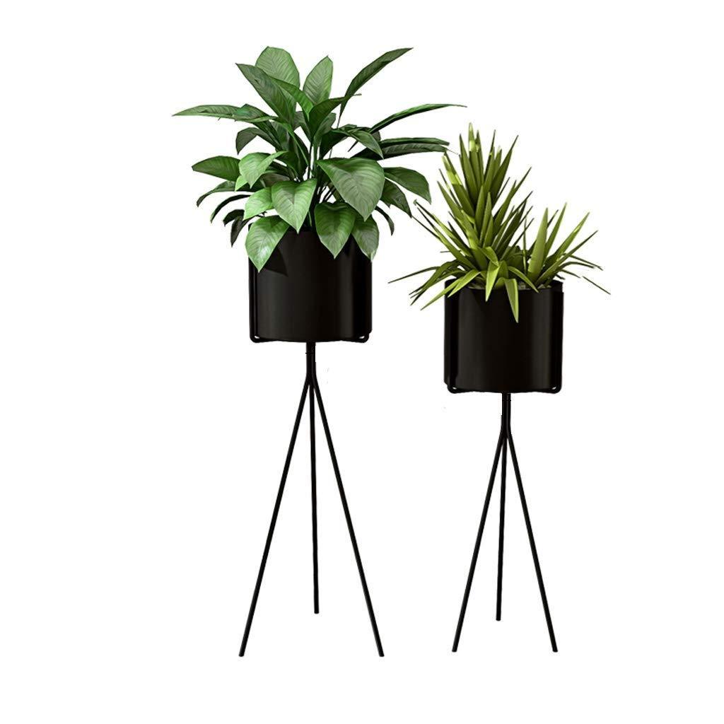 ヨーロッパの鉄の植木鉢ラック、錬鉄製の植木鉢ラックリビングルームの植木鉢ベースフレーム、マルチカラー (色 : ブラック) B07RVCFJ55 ブラック