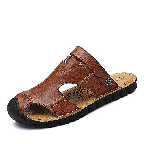 Xing Lin Sandalias De Hombre Baotou Duraderas Zapatillas De Hombres Sandalias Zapatos De Doble Uso Playa Zapatos Zapatos Zapatos De Cuero Patio Exterior Dark brown