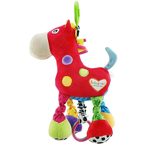 Baby Stroller Hanging Toy, Plush Pull Bell Sensory Car Seat Activity Toy, Cartoon Horse Music Crib Toy for Infant Toddler Baby Boys Girls Kids Children