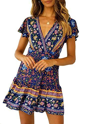 Women's Summer Wrap Bohemian Floral Ruffle V Neck A Line Beach Short Sleeves Mini Dress Small Navy Blue ()