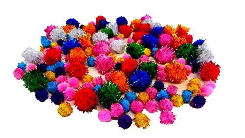 Glitter Pom Poms (Assorted Sizes & Colors)