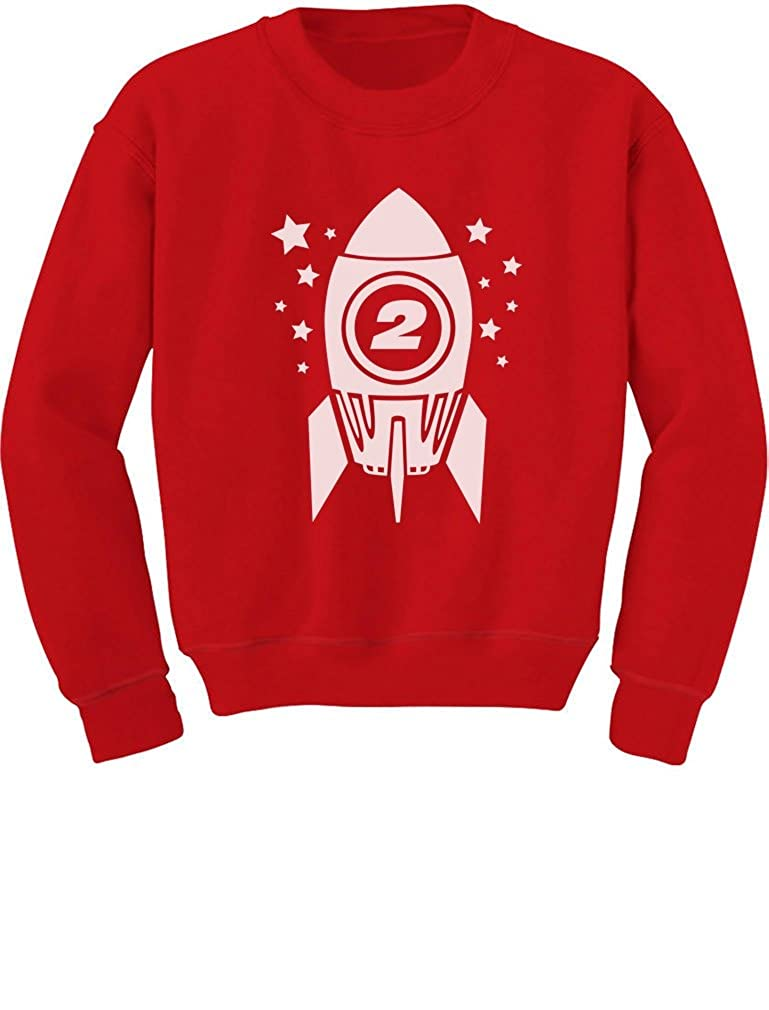 Tstars Gift for Two Year Old 2nd Birthday Space Rocket Toddler//Kids Sweatshirts