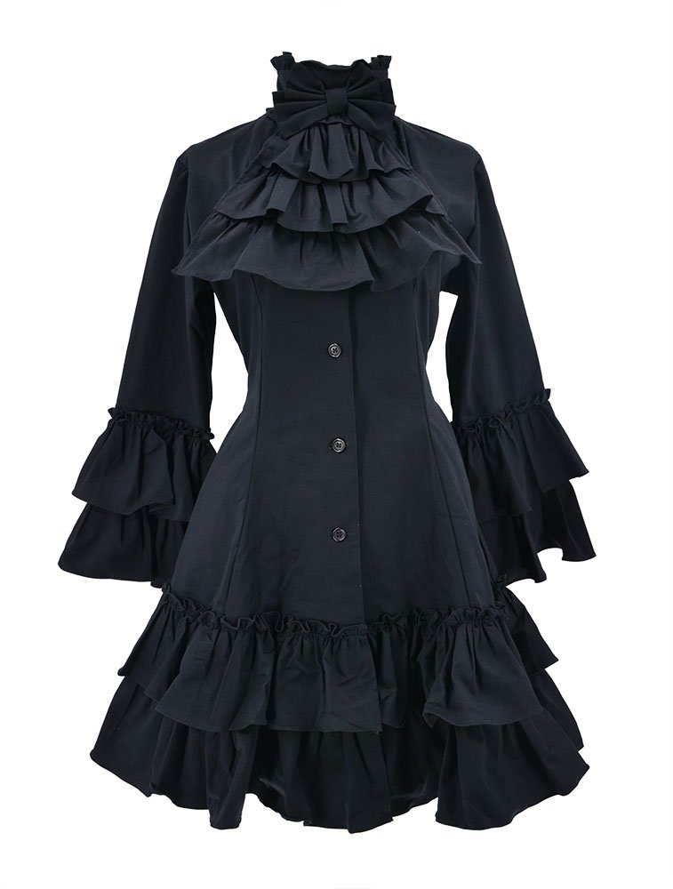 Nite closet Gothic Dresses for Women Long Sleeves Multi Layers Classic Lolita Black Vintage 3