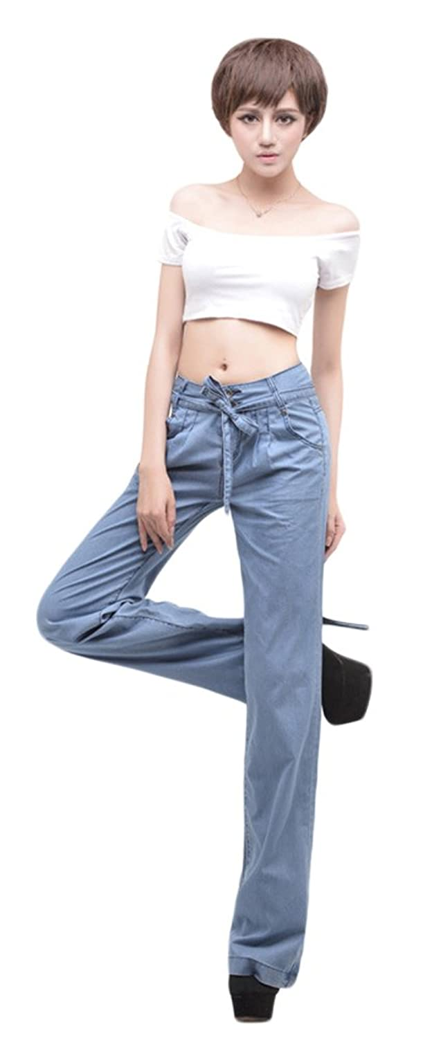 AvaCostume Women's Wide Leg Pants Vintage Belted Relaxed Fit Trousers