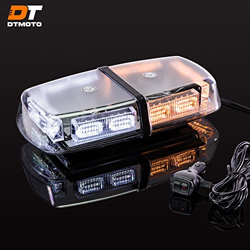 "12"" 36-Watt LED Mini Light Bar w/ 17 Modes, IP66 Waterproof and Magnetic Mount - Amber / White Warning Strobe Light Bars for Hazard, Emergency, Snow Plow Vehicles"