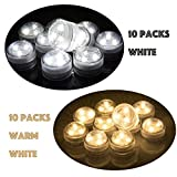 Set of 20 AceList Submersible Waterproof Underwater Tea Light Sub Lights Battery Operated LED Tea Light Thanksgiving Halloween Wedding Decoration Party Electric Flameless Candle